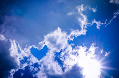Heart in the sky. Heart from cloud in the blue sky stock photo