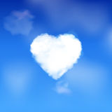 Heart cloud in a blue sky Stock Images