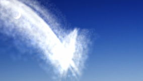 Heart from cloud on night sky stock footage
