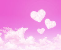 Heart cloud on pink sky abstract background Royalty Free Stock Photography