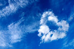 Heart from cloud on sky. Stock Photography