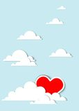 Heart in the clouds. Red heart in the clouds Stock Image