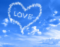 Heart in the Clouds. Clohud heart in the blue sky stock images