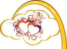 Heart in clouds. Red heart against the stylised cloud and a rainbow Stock Photography