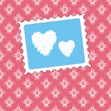 Heart clouds on a pink floral background Stock Image