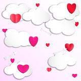 Heart in the clouds in the sky with arrows.. You can text in the cloud. Paper cut style. Vector illustration. EPS10 Stock Photography
