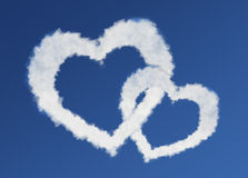 Heart clouds valentine's day concept Stock Image