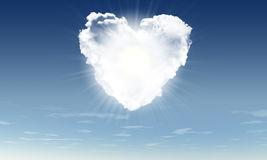 Heart from clouds witn sunbeam Royalty Free Stock Photo