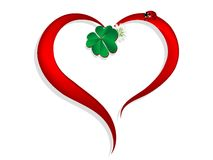 Heart with clover Stock Images