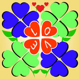 Heart Clover of Love. Heart shape clover with word love in the center Royalty Free Stock Photo
