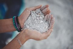 A heart of coarse white sand. At the beach royalty free stock images
