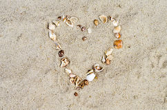 Heart from cockleshells Royalty Free Stock Photos