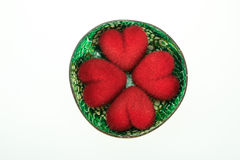 4 heart in cocohut shell. 4 heart in coconut shell (inside coconut shell is green color Royalty Free Stock Image