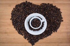 Heart from coffe beans. Heart shape made from coffee beans Stock Photography