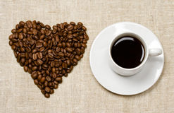 Heart and coffee. Cup background Royalty Free Stock Photo