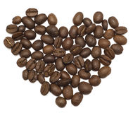 Heart coffee. Coffee beans isolated over white background Royalty Free Stock Image