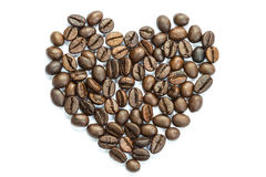 Heart coffee bean isolated on white Stock Image