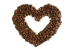 Heart from coffee beans. Isolated on a white background Stock Photo