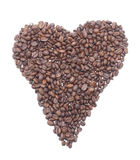 Heart from coffee beans. Isolated object Stock Images