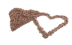 Heart from coffee beans. Royalty Free Stock Photos