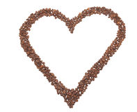 Heart from coffee beans. Isolated object Royalty Free Stock Photos