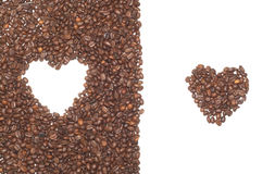 Heart from coffee beans. Isolated object Stock Photo