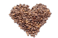 Heart of coffee beans. On white background Royalty Free Stock Image