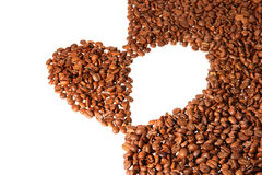 Heart from the coffee beans Stock Images