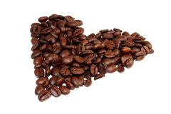 Heart of the coffee beans. Coffee beans arranged in the shape of a heart Royalty Free Stock Photos