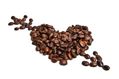 Heart from coffee beans. And arrow Royalty Free Stock Photography