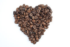 Heart of the coffee beans Stock Photos