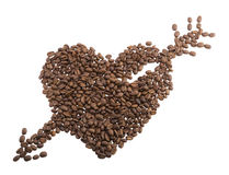 Heart from coffee beans. Stock Image