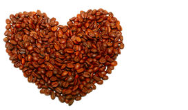 Heart from coffee beans. Close up Royalty Free Stock Photo