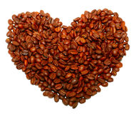 Heart from coffee beans. Close up Stock Photo
