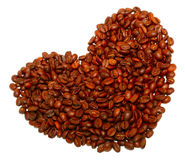 Heart from coffee beans. Close up Royalty Free Stock Photos