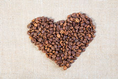Heart from coffee beans Stock Image