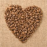 Heart from coffee beans stock photography