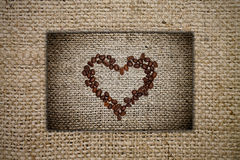 Heart of coffee beans Royalty Free Stock Photos