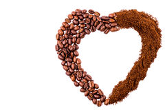 Heart of coffee beans and ground coffee isolated on white backg Stock Photography