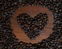 Heart from coffee beans stock photos
