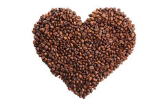 Heart from coffee beans isolated on white Stock Photography