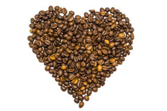 Heart from coffee beans isolated. On white background Stock Images