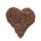 Heart from coffee beans isolated on a white background Royalty Free Stock Images