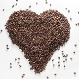 Heart from coffee beans isolated on a white background Royalty Free Stock Photo
