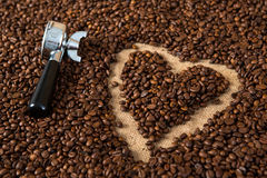 Heart in coffee beans Royalty Free Stock Photo