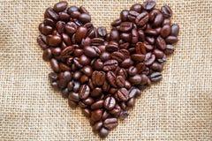 The heart of coffee beans. The heart of coffee beans on sack bag Stock Images