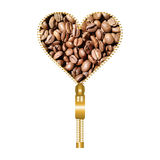 Heart with coffee beans. Heart shaped golden fastener filled with coffee beans texture on a white background stock illustration