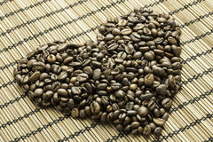 Heart of coffee beans Royalty Free Stock Images