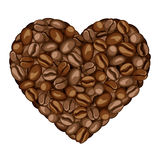 Heart of coffee beans. Stock Image