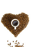 Heart of coffee beans Royalty Free Stock Photography